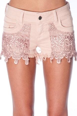 i wantttttt: Pink Shorts, Diy Ideas, Rose Lace, Cut Off Shorts, Denim And Lace, Cute Shorts, Pink Moon, Lace Skirt, Lace Shorts