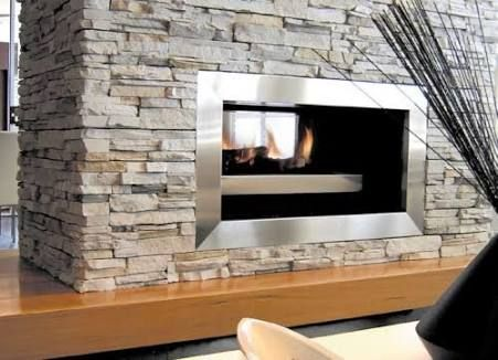 stone double sided wood fireplace - Google Search