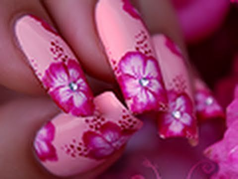 Nail art tutorial to make a beautiful pink One Stroke Hibiscus flowers. ▻  Hope you - Best 20+ Hibiscus Nail Art Ideas On Pinterest Tropical Flower