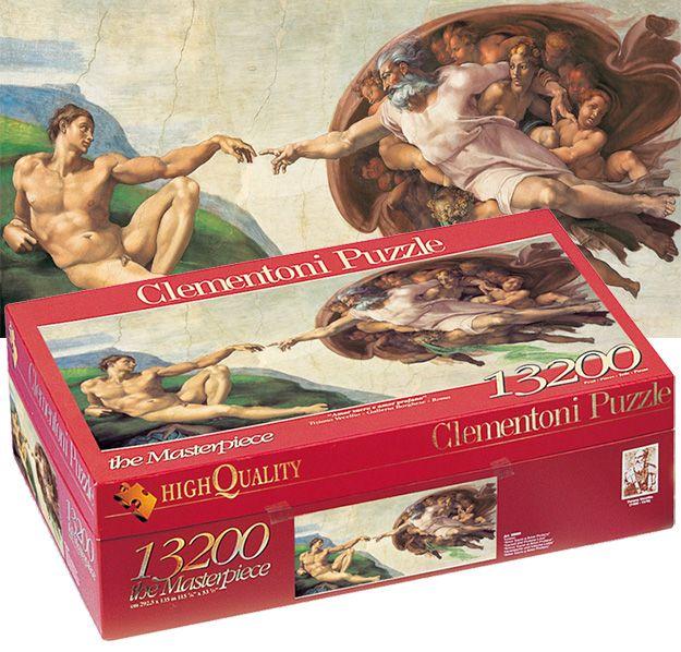 Quebra-Cabeça Gigante com 13.200 Peças: Michelangelo – La Creazione dell' Uomo