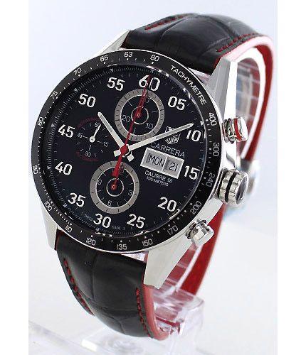 タグホイヤーカレラ キャリバー16 オートマチック クロノグラフ レザー ブラック メンズ CV2A1EFC6301 -タグホイヤー時計コピー