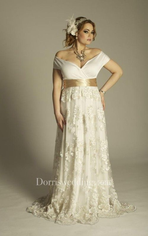 Plus Size Off Shoulder A Line Vintage Lace Floor Length Wedding Gown With Sash
