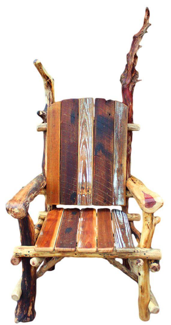 Rustic FurnitureThrone Rustic Chair Arm chair by WoodzYShop, $545.00