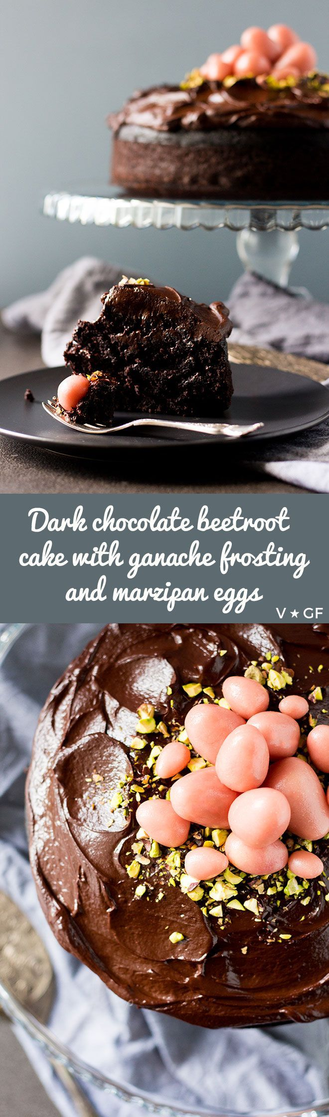 A vegan and gluten free dark chocolate beetroot cake with chocolate ganache frosting and marzipan eggs, perfect for Easter or any celebration. via @quitegoodfood
