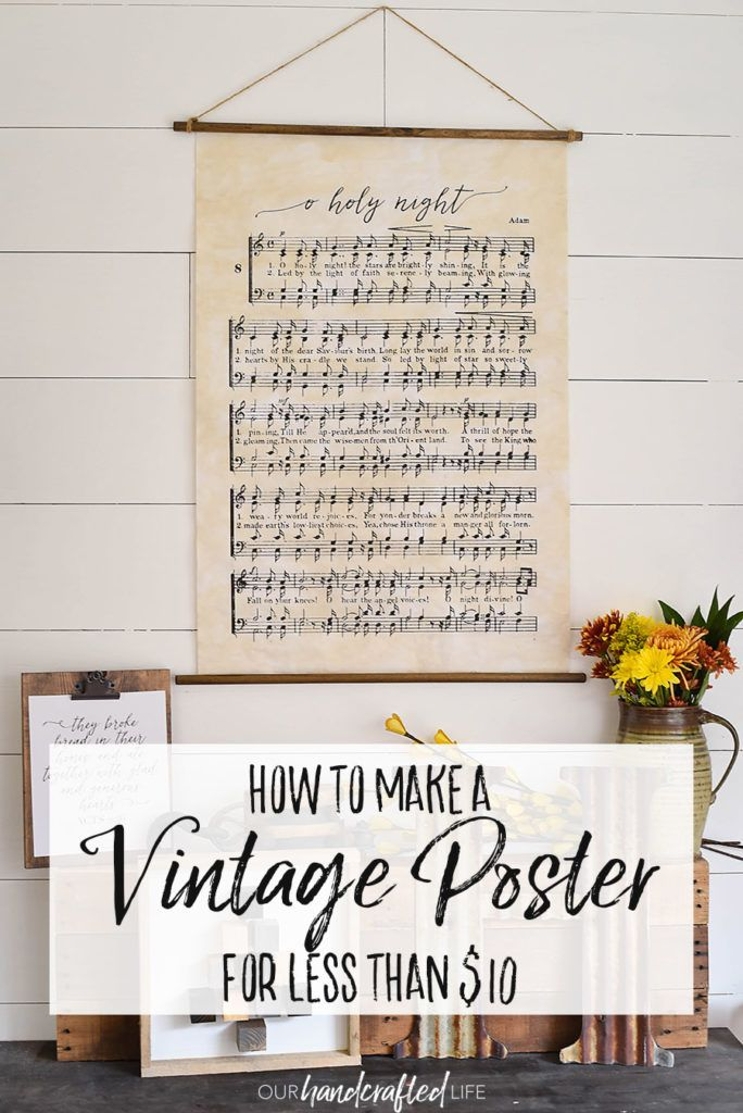 how to make a vintage style hanging poster for less than 10 this inexpensive project
