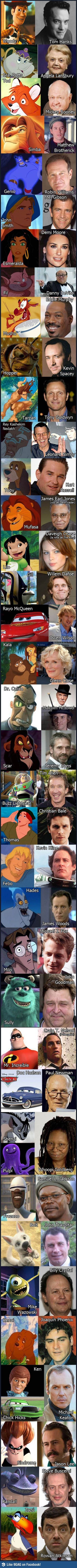 Love this - Cartoon characters and the famous actors who voiced them.  Some are surprising.