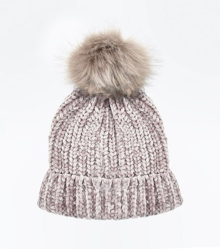 Mink Chenille Knit Faux Fur Pom Pom Hat | New Look