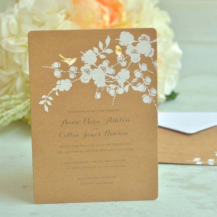 business event invitation templates%0A Gold foil birds on Kraft invitation with matching response cards and  envelopes  Box contains     Invitations     Invitation Envelopes      Response Cards