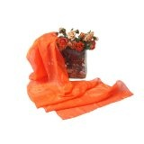 Pure Silk Fashion Scarf Shawl for Women - Tangerine Sophisticate - Oblong Silk Scarves Rectangle Long Scarf Mothers day gifts presents gift ideas for her women wife mom mother from daughter son scarves birthday gifts her wife presents girlfriend something special me mom thin lightweight chiffon Scarf (Apparel)By TexereSilk