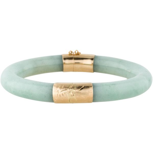 14K Jade Hinged Bangle (€540) ❤ liked on Polyvore featuring jewelry, bracelets, 14 karat gold bangles, jade bangle, green jade jewelry, jade bracelet bangle and 14k bangle