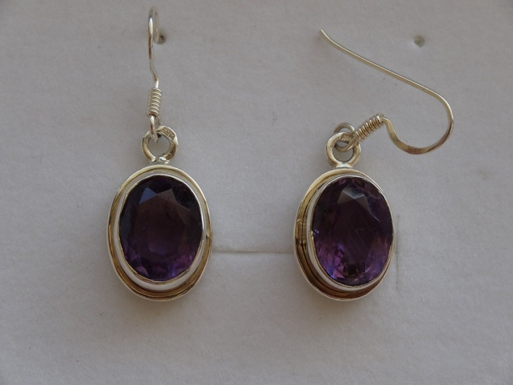 $36 Italian Sterling Silver Earrings with Amethyst  Stone, info@bijuterie-online.ro.