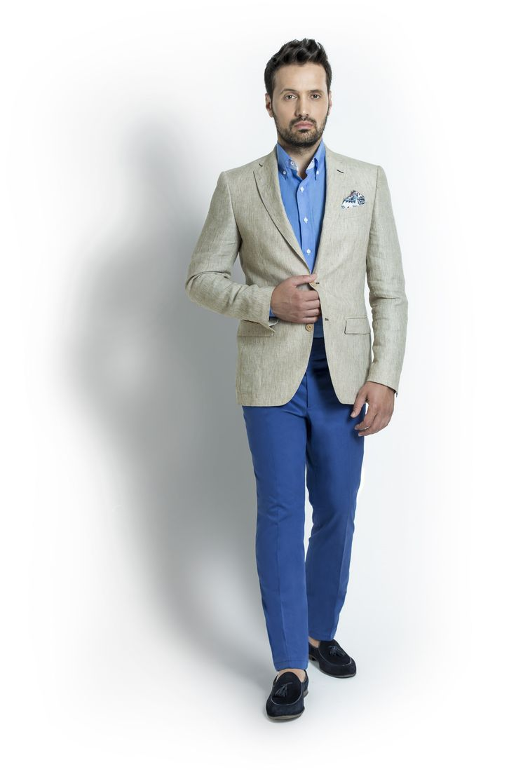 """When in need of simpleness, the perfect option is the Beige Linen Jacket. Add to this outfit 2 shades of blue : Light Blue Cotton Shirt and Blue Cotton Trousers and you have found yourself in """"The Contrast"""" proposal, which will be appropriate for most summer  dress codes."""