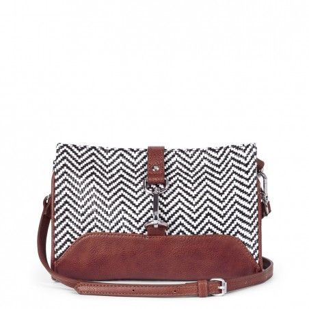 Woven mini crossbody bag with aged faux leather trim, front clasp, top zipper closure and removable straps.