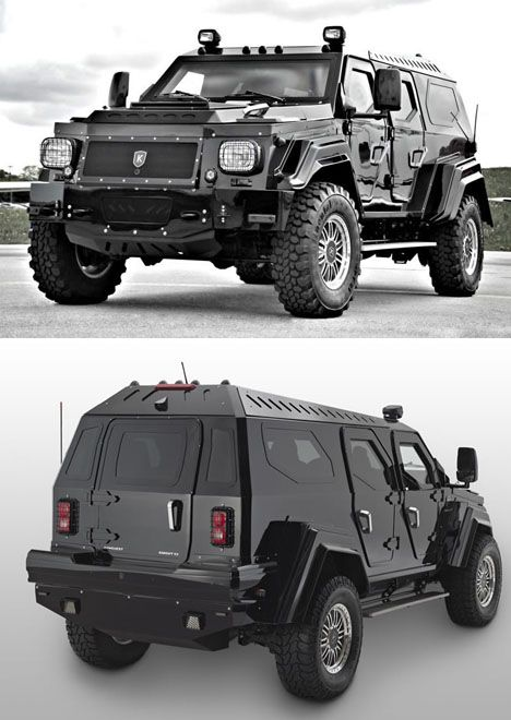 """A Canadian company called Conquest Vehicles, which manufactures """"ultra-luxurious, fully armored, handcrafted sport utility vehicles"""" is producing the military-inspired Knight XV seen here.  The massive, nearly ten-ton vehicle was built from the ground up using high-grade steel, """"ballistic aluminum"""" and other fun compounds; the doors are so heavy they require special hinges to support the extra weight."""