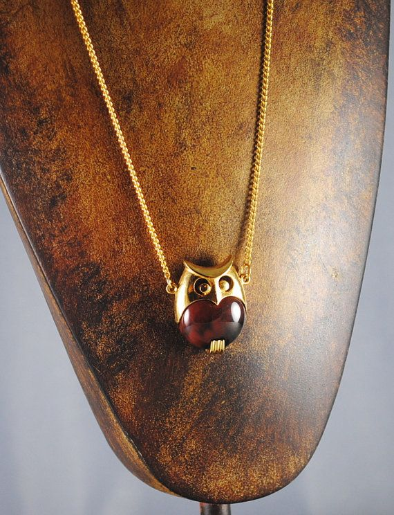 Owl Necklace Vintage Medium Size Tortoise by ErikasCollectibles, $59.00