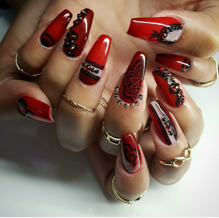 110 best Red coffin nails images on Pinterest | Casket nails, Coffin ...
