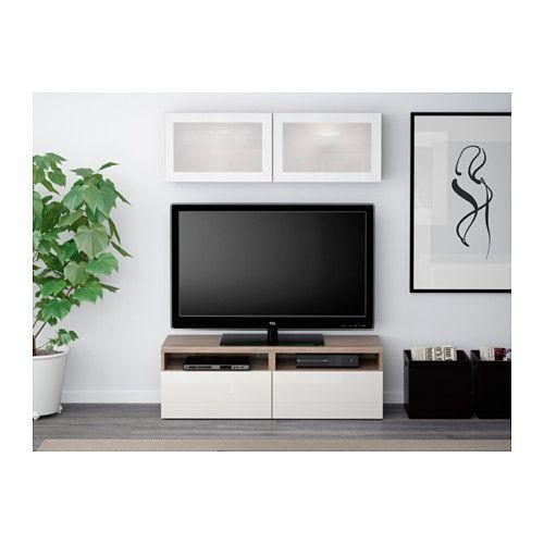 BESTÅ Comb arrum TV/portas vidro - efeito nogueira velat cinz/Selsviken vidro fosco branco/brilhante, calha p/gaveta, fecho suave - IKEA