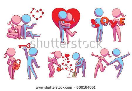 Vector set of six cartoon images of loving couples: pink woman and blue man with different actions on a white background. Love, relationship, date. Color image. Vector icon.