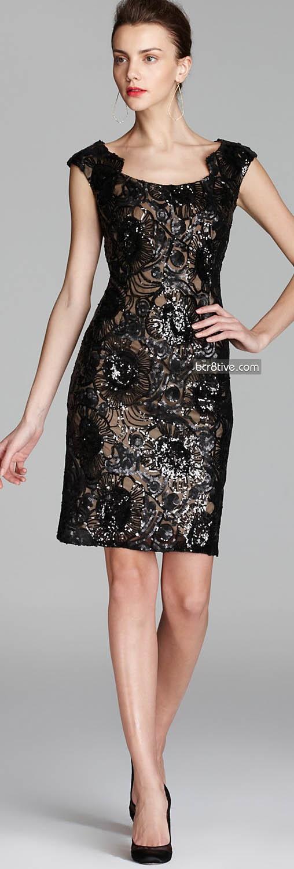 David Meister Dress - Gold Underlay Sequin Lace