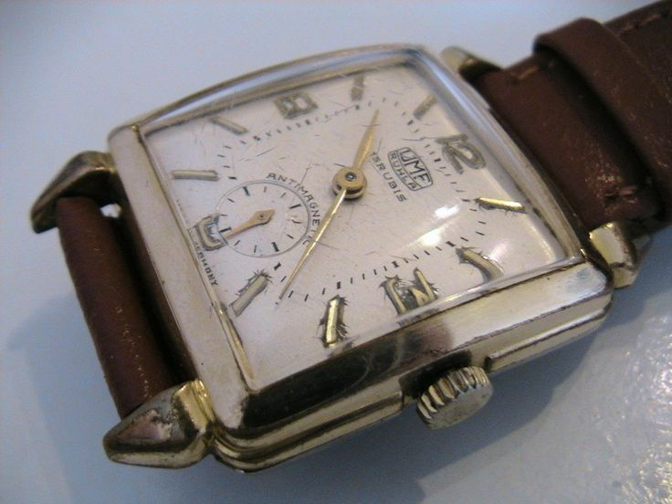 rare early vintage 15 jewel mens art deco just service gold plated steel east german umf ruhla mens watch on new band by Bohemianwatchsource on Etsy