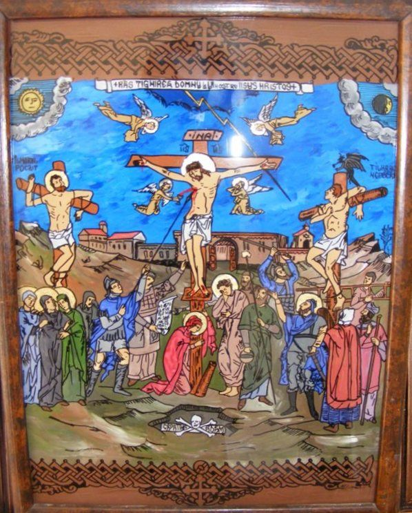 Icoana reprezinta rastignirea lui Iisus si este pictata pe sticla si lucrata manual 100%.