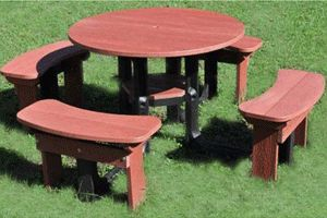 Red round picnic table