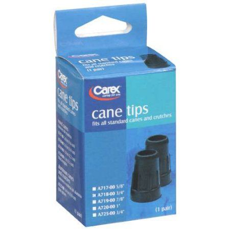 Carex Black Cane Tips 3/4 inch, 2 ct