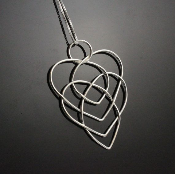 Celtic motherhood knot necklace. Sterling Silver heart necklace Unique gift for mom, grandma. Bold necklace. Infinity knot necklace