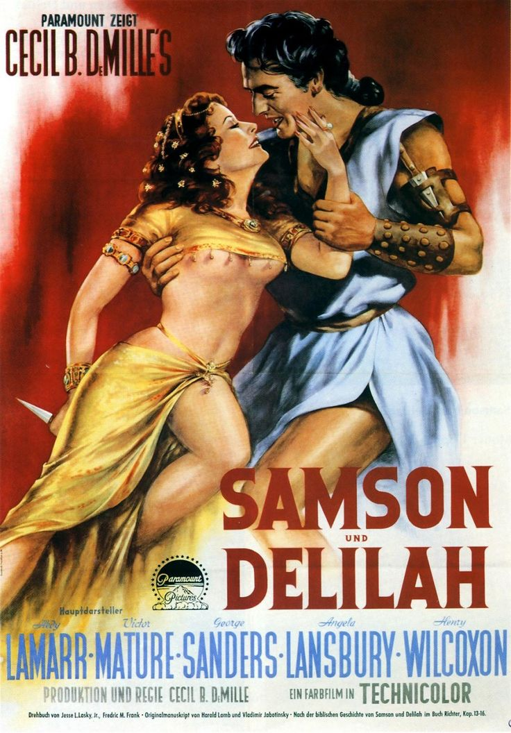 Cecil B. DeMille's Samson and Delilah (1949) starring Hedy Lamarr & Victor Mature — German film poster