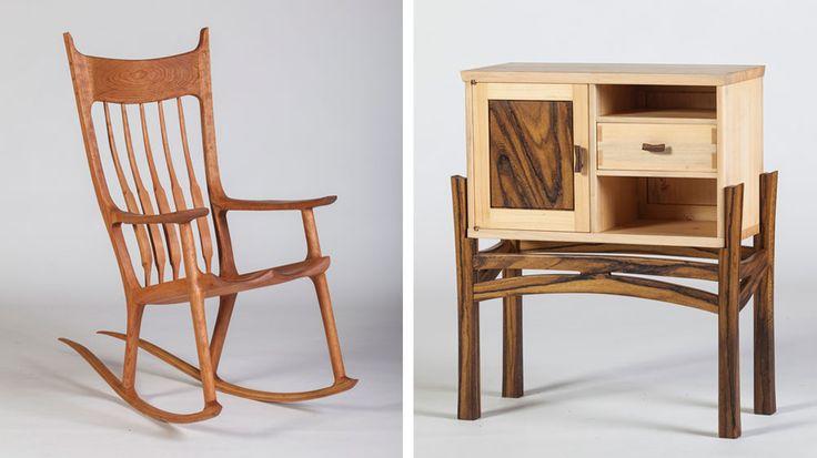 מימין: הארונית של גיל שמיר. משמאל: כיסא נדנדה של אבישי סטרולוויץ. כל המחברים עשויים מעץ, וכך הם מתכווצים ומתרחבים עם הרהיט כולו (צילום: ניצן הפנר)
