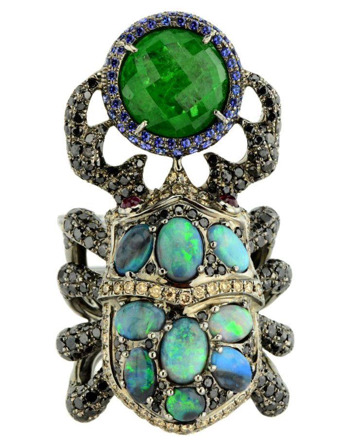 Wendy Yue Opal, Diamond, and Garnet Beetle Ring
