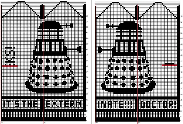 Ravelry: Doctor, it's the Daleks! Mitten pattern by Cait K.  Perhaps one Dalek mitten and one Tardis mitten for DD :-D