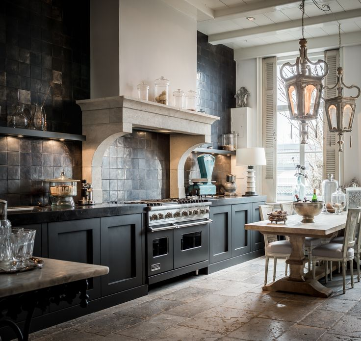 Kitchen, metallic tiles, witjes, antique floor tiles, interior, dining table, lantern, chimney piece