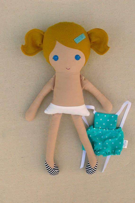 Fabric Doll Rag Doll Blond Haired Girl in Aqua by rovingovine