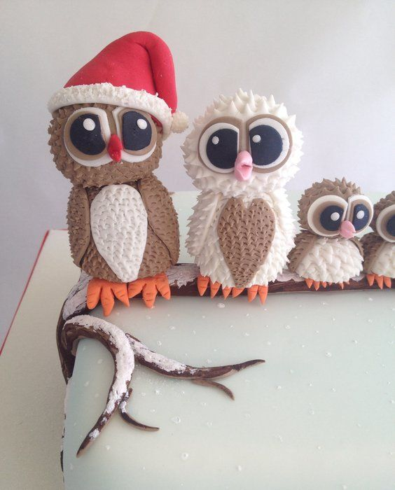 Owl family Christmas cake ( no. 2) - by Mel1204 @ CakesDecor.com - cake decorating website