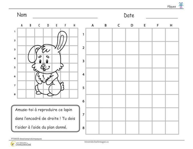 Petit dessin d'un lapin à reproduire à partir d'un plan quadrillé. Il peut être intéressant de l'utiliser pour pratiquer le repérage chez les élèves. Ce document comprend une page.  2e cycle,3e année,3e cycle,4e année,5e année,6e année,Arts plastiques,Caroline B.,exercice,Lettre,Nouveautés,Pâques,Passe-temps,Réaliser,simple