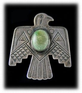 Antique Western Silver Thunderbird Pin - Navajo Antique Silver