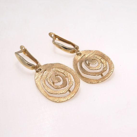 Adita Unique 14k Solid Yellow Gold Handmade Spiral Earrings Etsy Jewelry Fashion