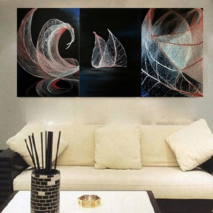 Leaves triptych. Oil on canvas. Size : 50 x 120 cm.