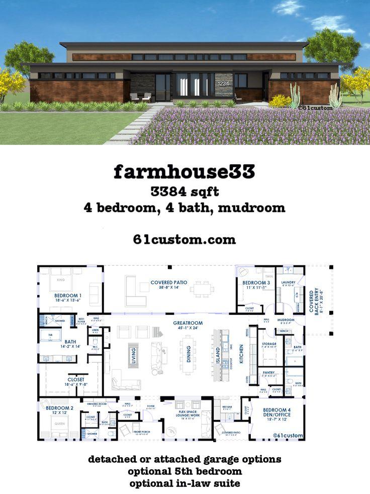 Best 25 modern farmhouse plans ideas on pinterest for Modern open concept house plans