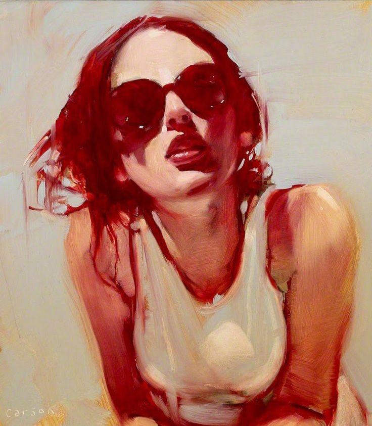 Artist: Michael Carson (b. 1972), oil on canvas {contemporary figurative art beautiful female head sunglasses red woman face portrait painting}