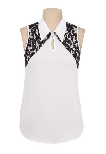 Sleeveless Collared Contrast Lace Blouse available at #Maurices
