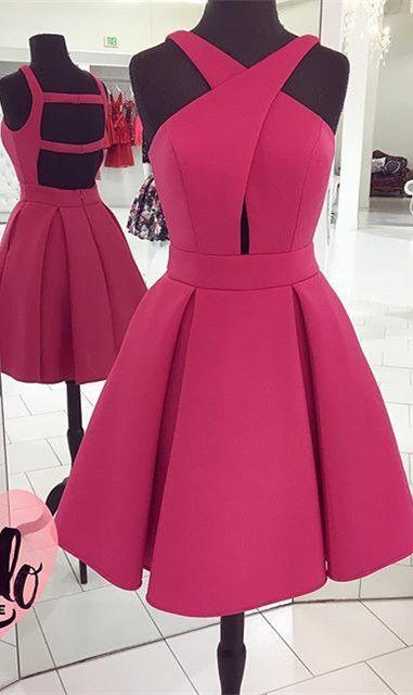 2017 short prom dress homecoming dress, short pink prom dress homecoming dress, party dress