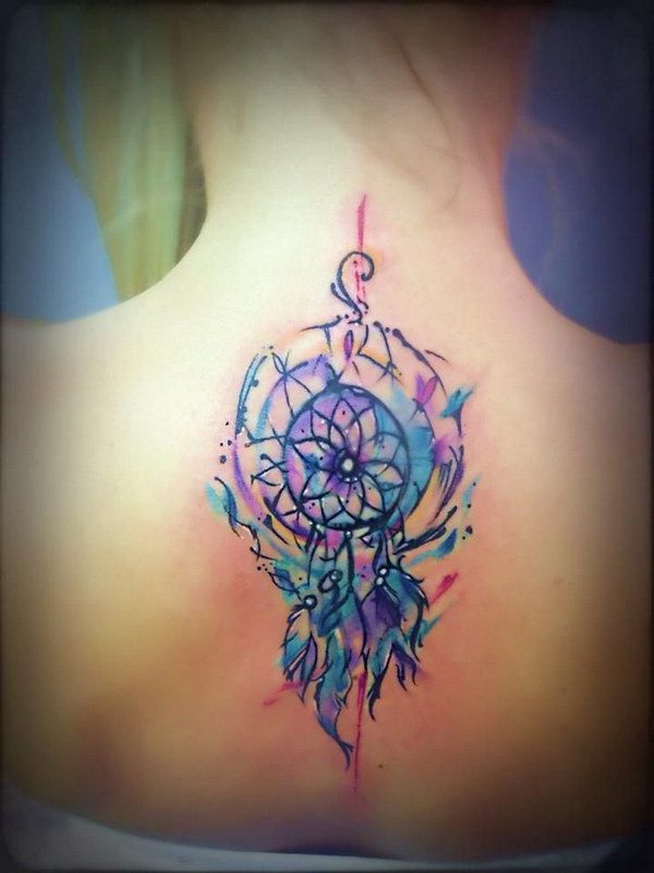 Watercolor Dreamcatcher Tattoo on Back.
