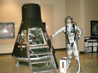 This is an homebuilt lifesize model of the Mercury Capsule. The space suit is also handmade.
