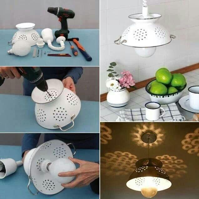So wird aus einem Abtropfsieb eine #Designer-#Lampe mit tollem Leuchteffekt! #DIY
