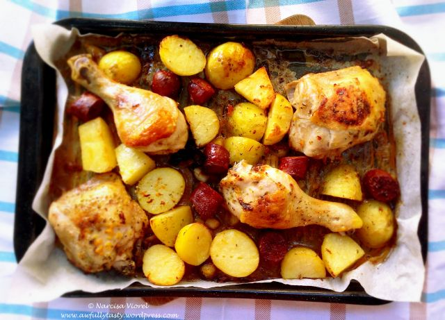 Spanish chicken with chorizo and potatoes. Nigella Lawson recipe. Very tasty!