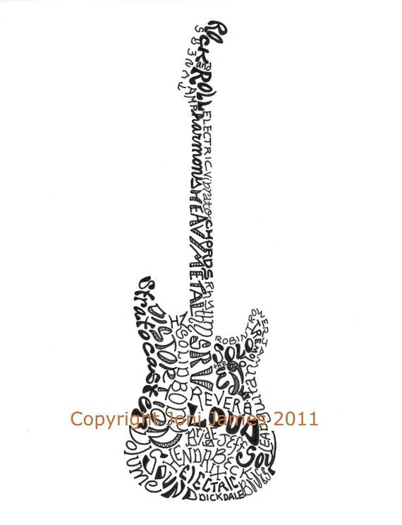 Musical Instrument Art Electric Guitar Art Word by