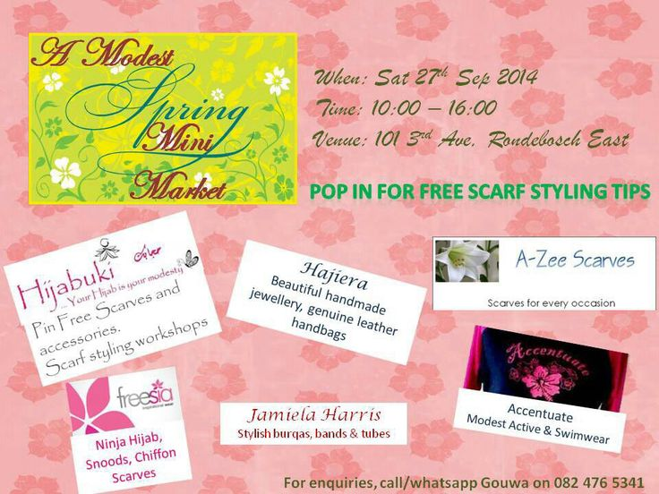 Pre #Eid #spring #market.  Join us for #Free #Scarf #Styling tips at 101 3rd Ave Rondebosch East on 27 Sept 2014.