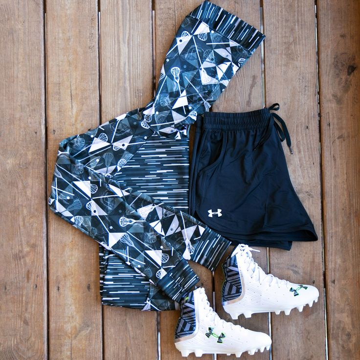 Lax Practice Essentials: Sportabella Girls Lacrosse Black Mosaic Print Bella Hoodie | Under Armour Girls Highlight Yellow Neon Lacrosse Cleats - Sportabella.com